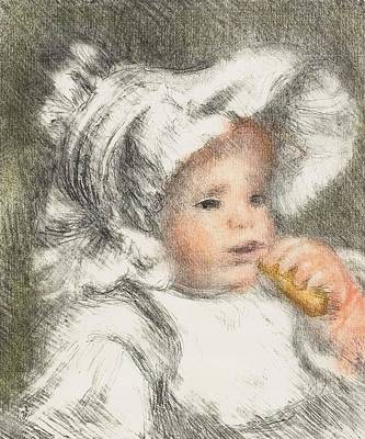 Child With A Biscuit Print by Pierre Auguste Renoir