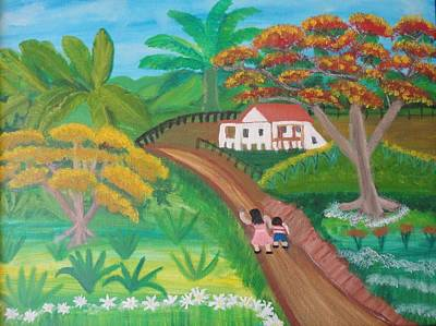 Flamboyan Tree Painting - Childhood Memories by Nelida Alicea
