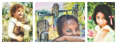 Lively Painting - Childhood Triptic by Mo T