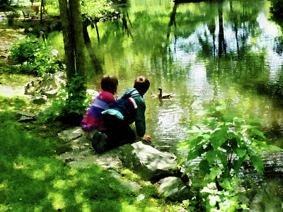 Reflections Photograph - Children And Ducks In Park by Susan Savad