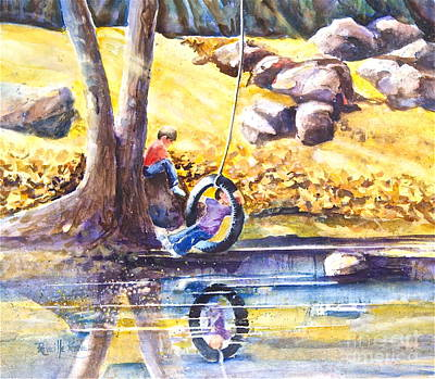 Child Swinging Painting - Children And The  Old Tire Swing by Reveille Kennedy