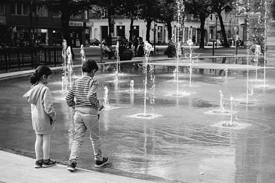 Orebro Photograph - Children Play By Fountain by Jimmy Karlsson