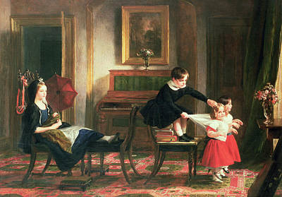Sisters Painting - Children Playing At Coach And Horses by Charles Robert Leslie