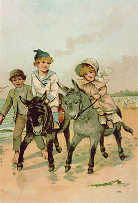 Sisters Drawing - Children Riding Donkeys At The Seaside by Harriet M Bennett