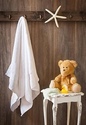 Teddybear Photograph - Childrens Bathroom by Amanda Elwell