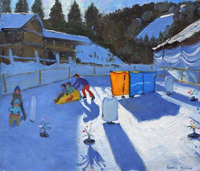 Childrens Ice Rink Print by Andrew Macara