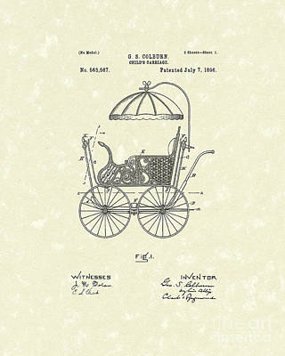 Stroller Drawing - Child's Carriage 1896 Patent Art by Prior Art Design