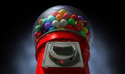 Childs View Of The Gumball Machine Print by Allan Swart