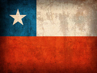 Flag Mixed Media - Chile Flag Vintage Distressed Finish by Design Turnpike