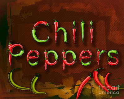 Burning Mixed Media - Chili Peppers by Bedros Awak