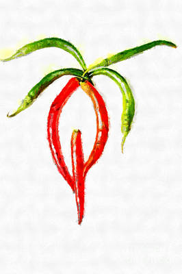 Chilli Palm Painting Print by Magomed Magomedagaev