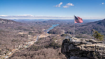 Chimney Rock And Lake Lure Print by Randy Scherkenbach