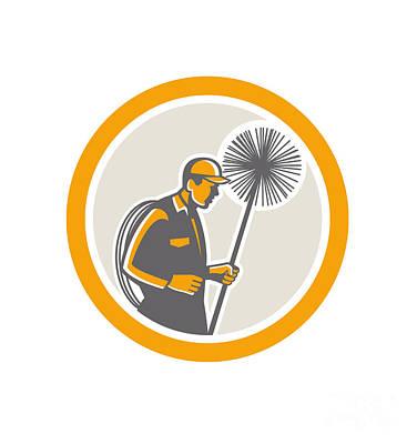Sweeps Digital Art - Chimney Sweep Worker Retro  by Aloysius Patrimonio