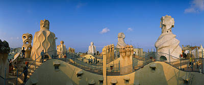Mosaic Photograph - Chimneys On The Roof Of A Building by Panoramic Images