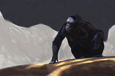 Chimp Contemplation Print by Aaron Blaise
