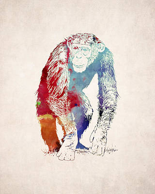 Ape Digital Art - Chimpanzee Drawing - Design by World Art Prints And Designs