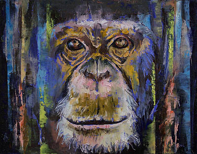 Ape Painting - Chimpanzee by Michael Creese