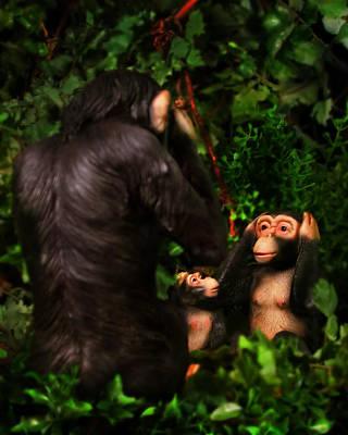 Pop Surrealism Photograph - Chimps by Diane Bradley