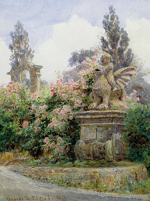 Bed Painting - China Roses Villa Imperiali Genoa by George Samuel Elgood