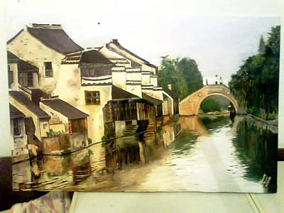 Painting - China Village by A Ghouri