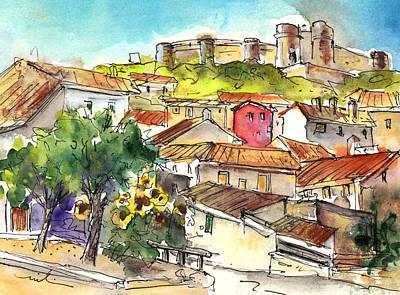 Castle Drawing - Chinchilla De Monte Aragon 06 by Miki De Goodaboom