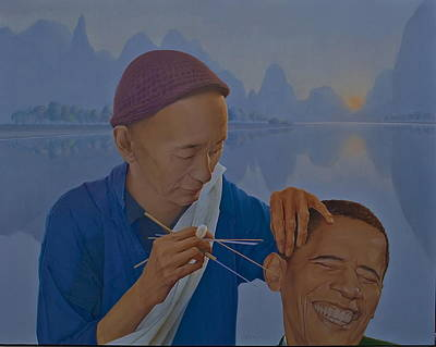 Barack Obama Oil Painting - Chinese Citizen Barack Obama On The Ear Scops by Tu Guohong