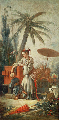 Chinese Curiosity, Study For A Tapestry Cartoon, C.1742 Oil On Canvas Print by Francois Boucher