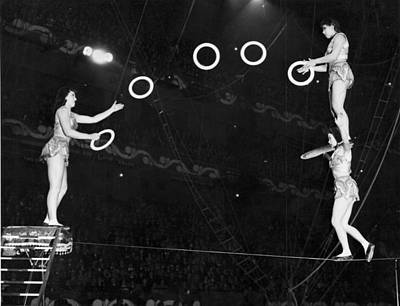 Tightrope Photograph - Chinese Family Tightrope Act by Underwood Archives