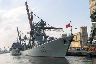 Battleship Photograph - Chinese Navy Ship In Haifa by Photostock-israel