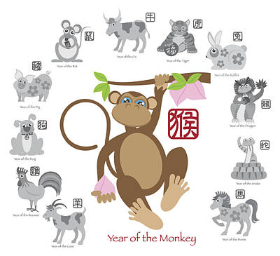 Chinese New Year Monkey Color With Twelve Zodiacs Illustration Print by JPLDesigns