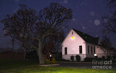Chino Old School House At Night- 01 Print by Gregory Dyer