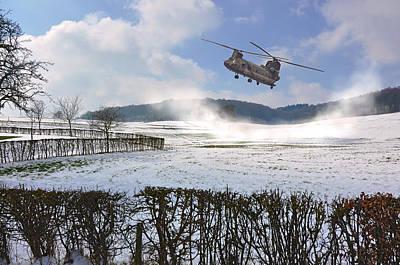 Chinook In Snow Dust Print by Nop Briex