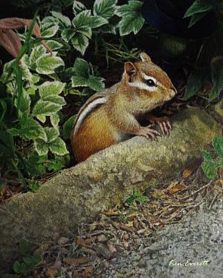 England Artist Painting - Chipmunk by Ken Everett