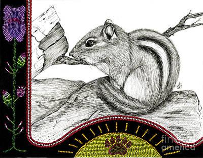 Bear Paw Drawing - Chipmunk's Stripes by Christine Matha