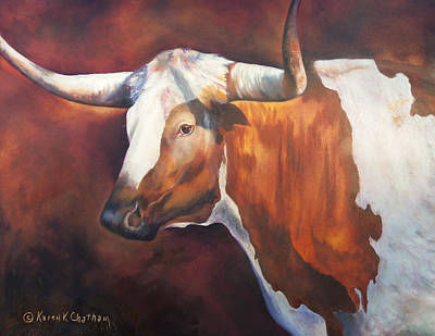 Cattle Drive Painting - Chisholm Longhorn by Karen Kennedy Chatham