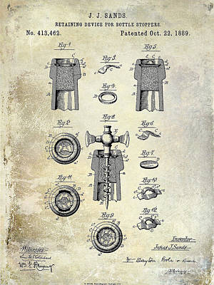 Winery Photograph - Champagne Retaining Device Patent Drawing 1889 by Jon Neidert