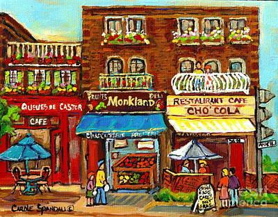Queue Painting - Cho Cola Patisserie Cafe Paintings Cupcake Chocate Bakeshop Art Of Montreal Street Scenes C Spandau by Carole Spandau