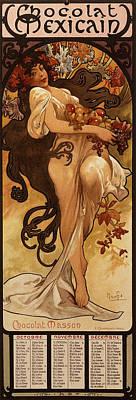 Brunette Drawing - Chocolat Masson, 1897  by Alphonse Marie Mucha
