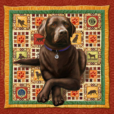 Chocolate Labrador Retriever Digital Art - Chocolate Chewie On Gold Quilt by Michelle Guillot