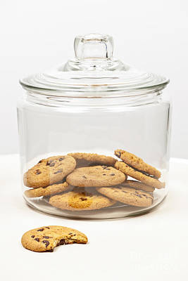 Biting Photograph - Chocolate Chip Cookies In Jar by Elena Elisseeva