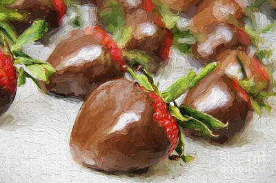 Chocolate Photograph - Chocolate Covered Strawberries Painterly 2 by Andee Design