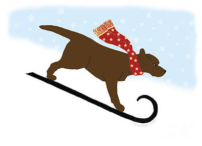 Chocolate Labrador Snowboarding Dog Print by Amy Reges