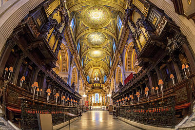 Altar Photograph - Choir Stalls, Altar And Roof, St Paul's by Peter Adams