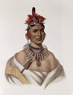 Earrings Photograph - Chon-ca-pe Or Big Kansas, An Oto Chief, Illustration From The Indian Tribes Of North America by Charles Bird King