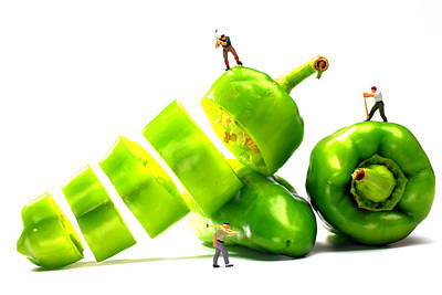 Chopping Green Peppers Little People Big Worlds Print by Paul Ge