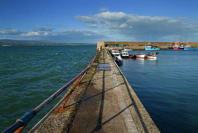 Choppy Seas And Calm Harbour, Helvick Print by Panoramic Images