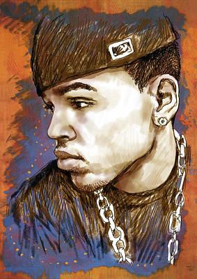 Chris Brown  - Stylised Drawing Art Poster Print by Kim Wang