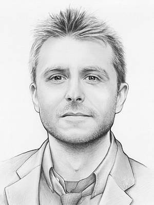 White Drawing - Chris Hardwick by Olga Shvartsur