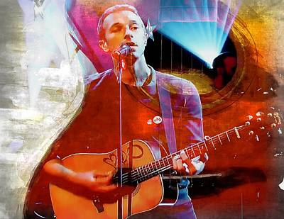 Coldplay Digital Art - Chris Martin Motif by John Delong