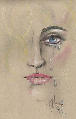 Tears Drawing - Chris by P J Lewis